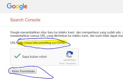 Google Submit URL - Proses Submit Artikel kita