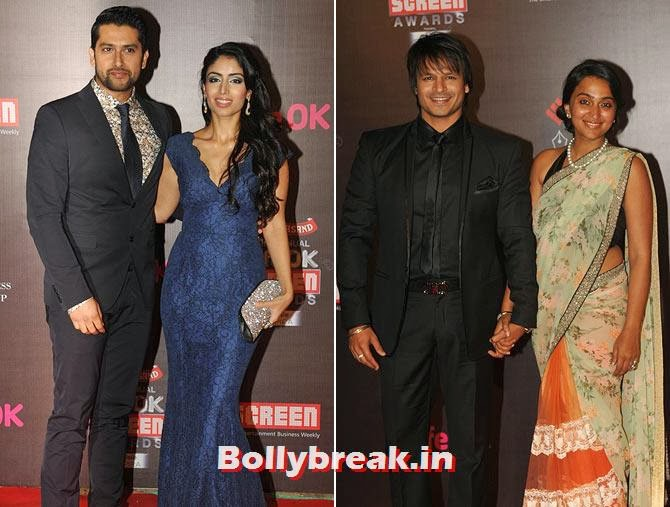 Aftab Shivdasani, Nin Dusanj, Vivek and Priyanka Obeori, Life Ok Screen Awards 2014 Red Carpet Photos