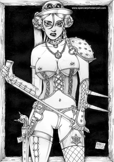 new Steampunk fetish fantasy erotic art ink drawings by Spencer John Derry