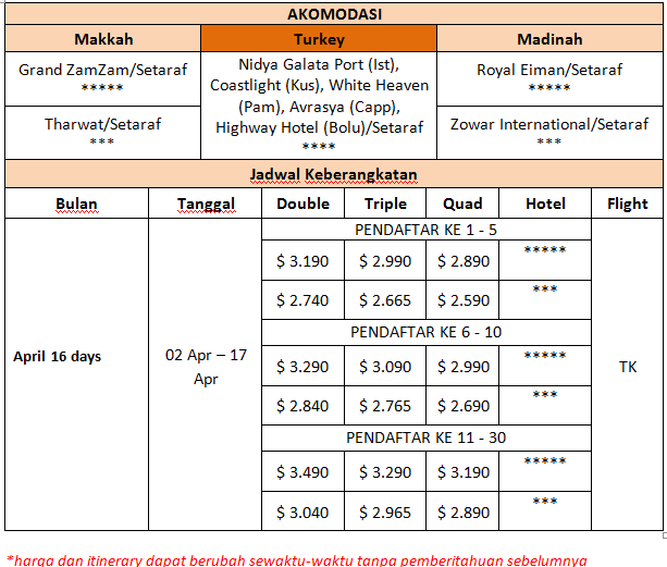 Harga Paket Umroh Plus Turki 2 April 2016