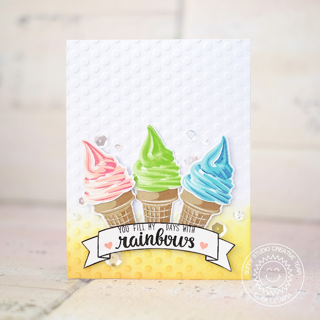 Sunny Studio Stamps: Two Scoops Ice Cream Cone Card Set by Lexa Levana