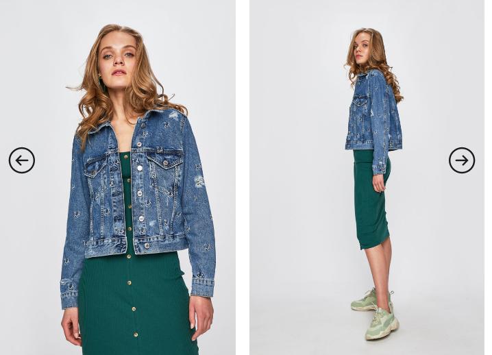 Geaca dama din denim originala Guess Jeans albastra 2019