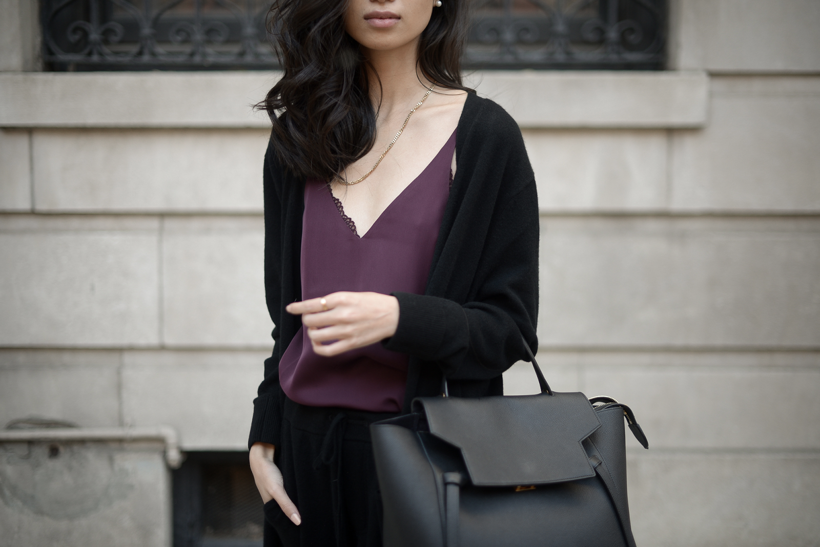 GRANA Silk Slip Dress and Cashmere Cardigan, Celine Belt Bag and Tibi Slides, Ways to Style Slip Dress for Fall / GRANA - Cozy Cashmere / FOREVERVANNY