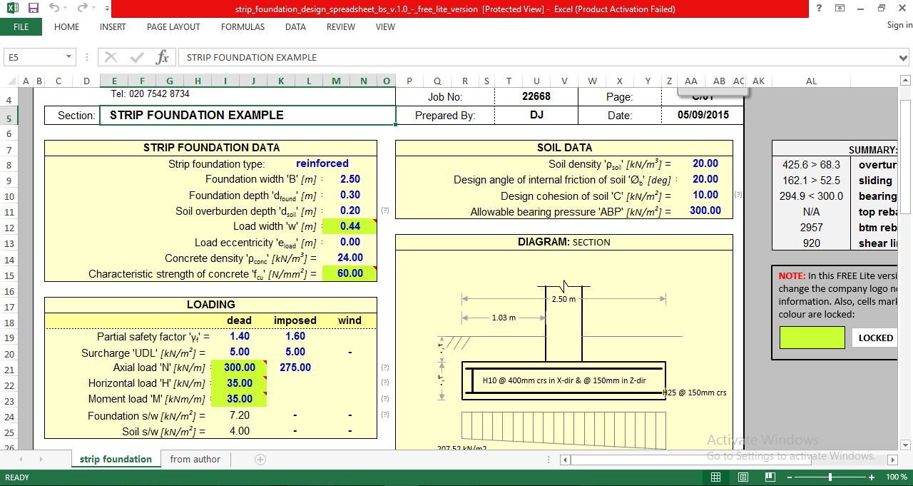 Spreadsheet For Design Reinforced Concrete Strip Footing