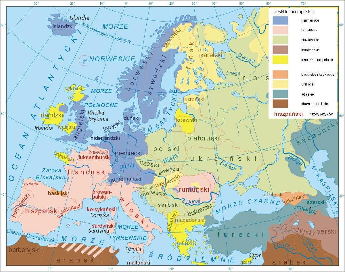 Europa Jezyki Mapa Indo European Languages Map