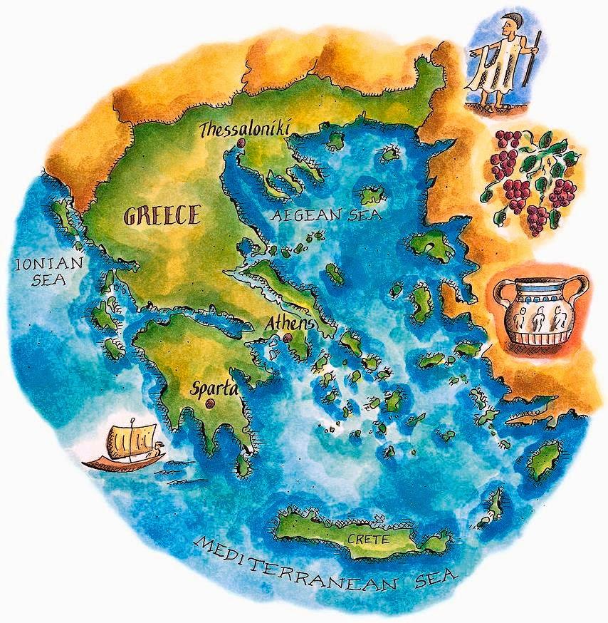 карта Греции с картинками