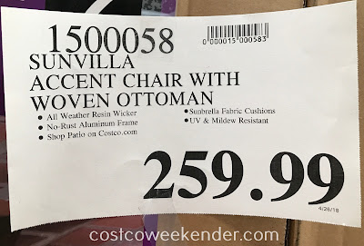 Costco 1500058 - Deal for the Sunvilla Accent Chair with Woven Ottoman at Costco
