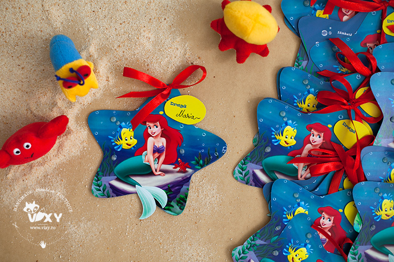 invitatie Ariel, invitatie personalizata, invitatie steluta, tema marina, petrecere Ariel, invitatie handmade Ariel, Ariel Disney, vixy.ro, tema botez Ariel, botez fetita, invitatie deosebita, invitatii speciale, invitatii decupate