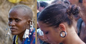 The tradition of elongating earlobes has stretched from Africa to America