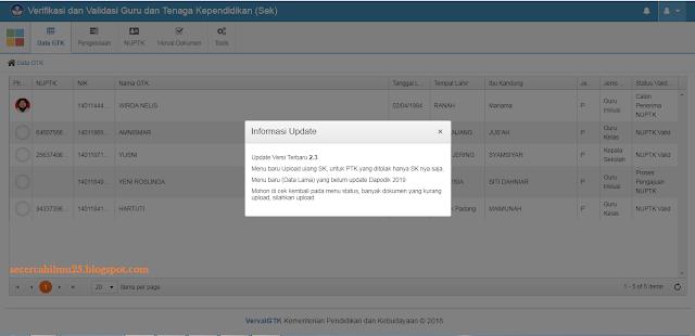 dan penambahan fitur lihat dan cetak kartu NUPTK di vervalpd Geveducation:  Vervalptk Update versi 2.3 dan Penambahan Fitur Kartu NUPTK