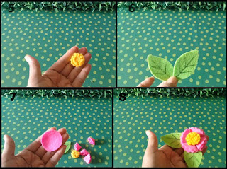 Gambar Tutorial Bunga Indah Sergabuna dari Flanel 2