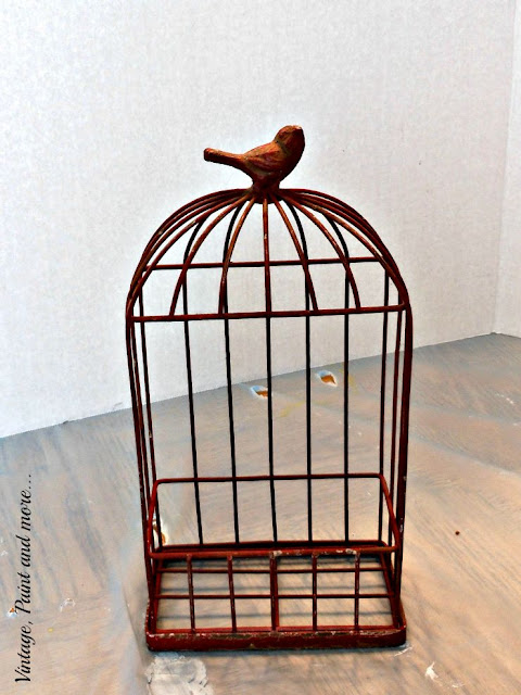 Vintage, Paint and more... rustic wire bird cage bought on clearance