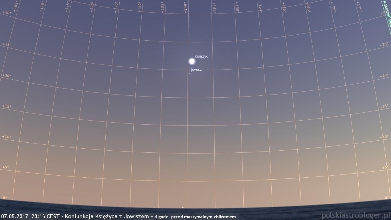 07.05.2017  20:15 CEST - Koniunkcja Księżyca z Jowiszem - 4 godz. przed maksymalnym zbliżeniem