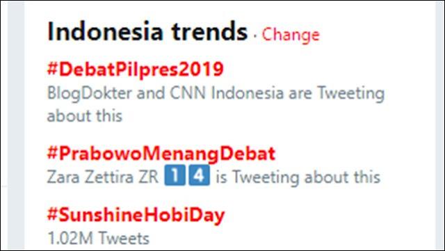 #PrabowoMenangDebat Jadi Trending Topic di Twitter