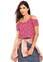 Moda Blusa FiveBlu Ombro Vazado Rosa