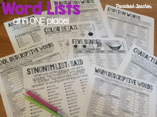 Word Lists, Adding Details to Writing, Writing Workshop, Details, Writing Word Lists, DOK 3