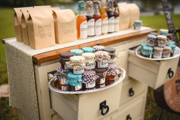 rustic mini jam wedding display