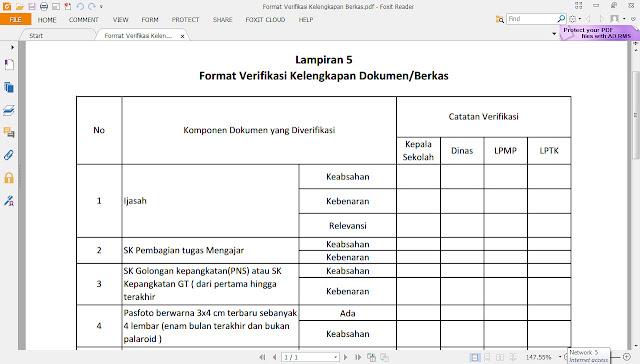 Format Verifikasi Kelengkapan Berkas Calon Sertifikasi 2016-2019
