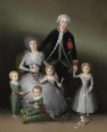 Goya - Los duques de Osuna y sus hijos 1787 - 1788. Óleo sobre lienzo sin forrar, 225 x 174 cm.