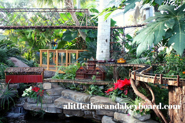 Trains all around at Sinnissippi Station at Nicholas Conservatory in Rockford, Illinois.