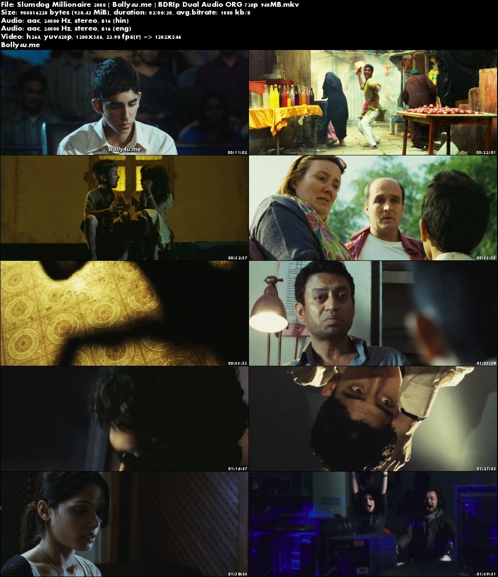 Slumdog Millionaire 2008 BDRip 350MB Hindi Dual Audio ORG 480p Download