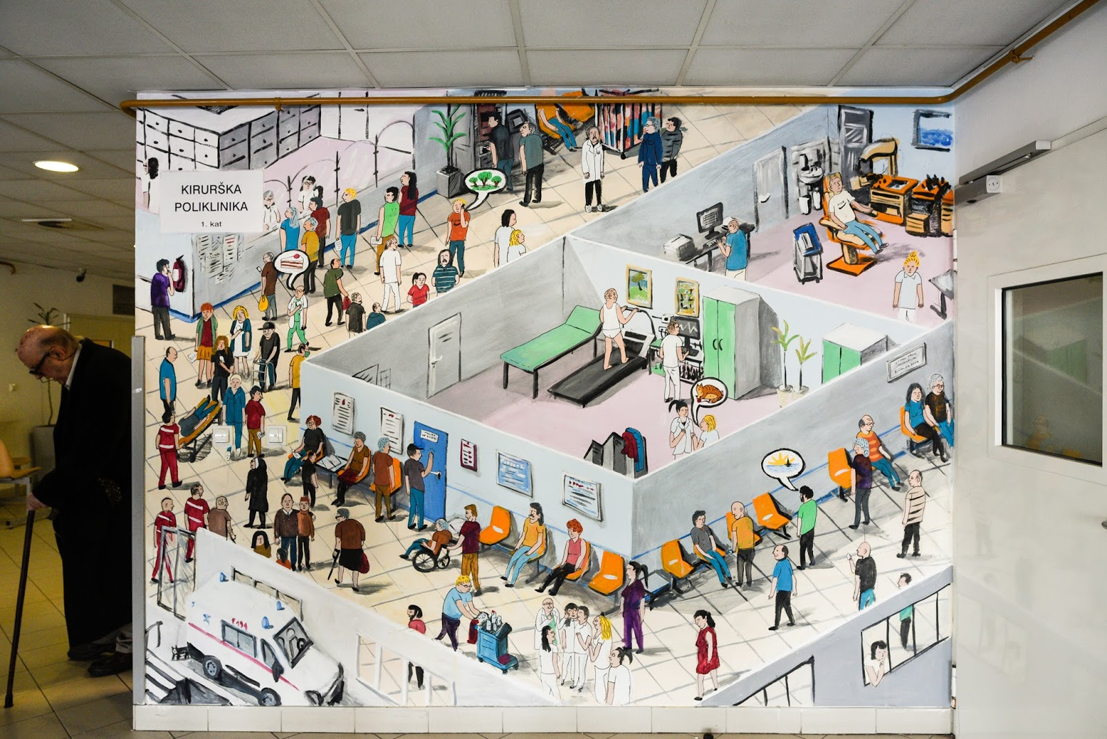 my whole life mural at the hospital rebro in zagreb. Black Bedroom Furniture Sets. Home Design Ideas