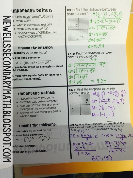 Distance & Midpoint Foldable | Mrs  Newell's Math