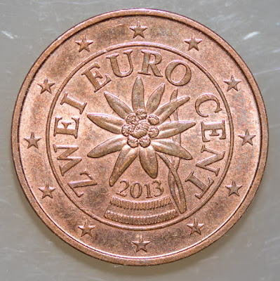 Obverse of 2013 Austria 2 Euro Cent, Zwei, flower and date