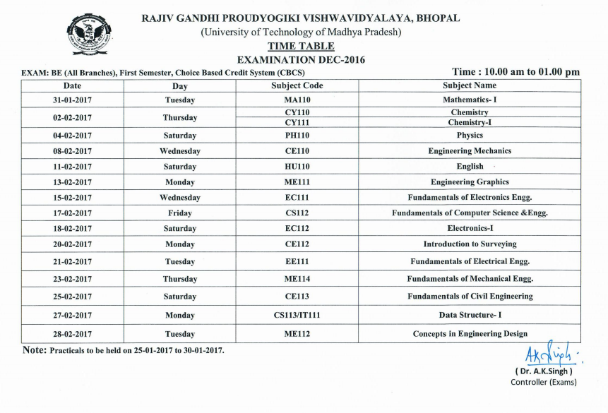 2017 rajiv gandhi proudyogiki vishwavidyalaya for 6th sem time table