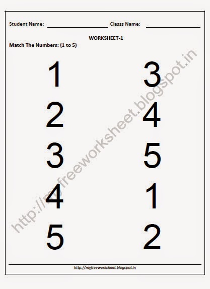 Free Download Match the Number Worksheets for nursery ~ My