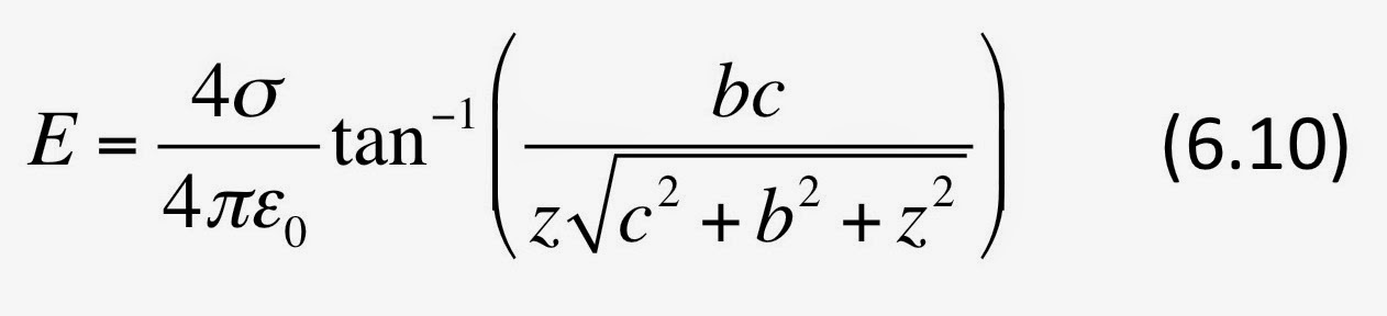 Equation 6.10 in Intermediate Physics for Medicine and Biology, which contains an expression for the electric field produced by a rectangular sheet of charge.