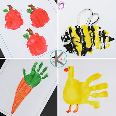 a is for apple, b is for bee, c is for carrot, d is for duck alphabet crafts for toddler, preschool, kindergarten, and first grade