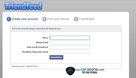 Cara Mendaftar friendfeed