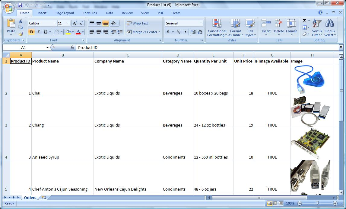 Exporting the data to Excel sheet with image embedded using Excel