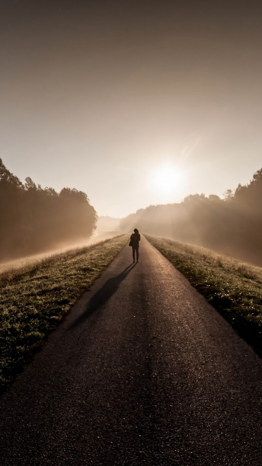 Lonely Lost Road Sunrise  Galaxy Note HD Wallpaper