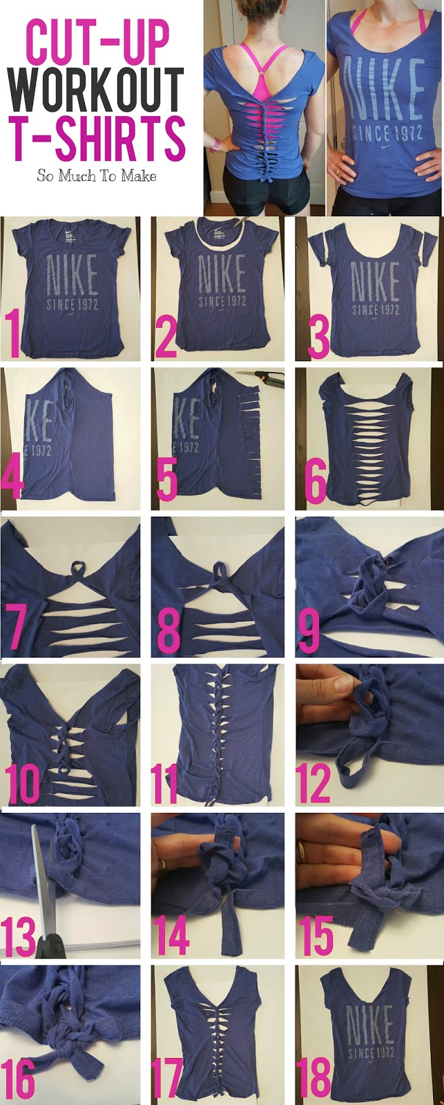 cut up workout t shirt tutorial so much to make. Black Bedroom Furniture Sets. Home Design Ideas