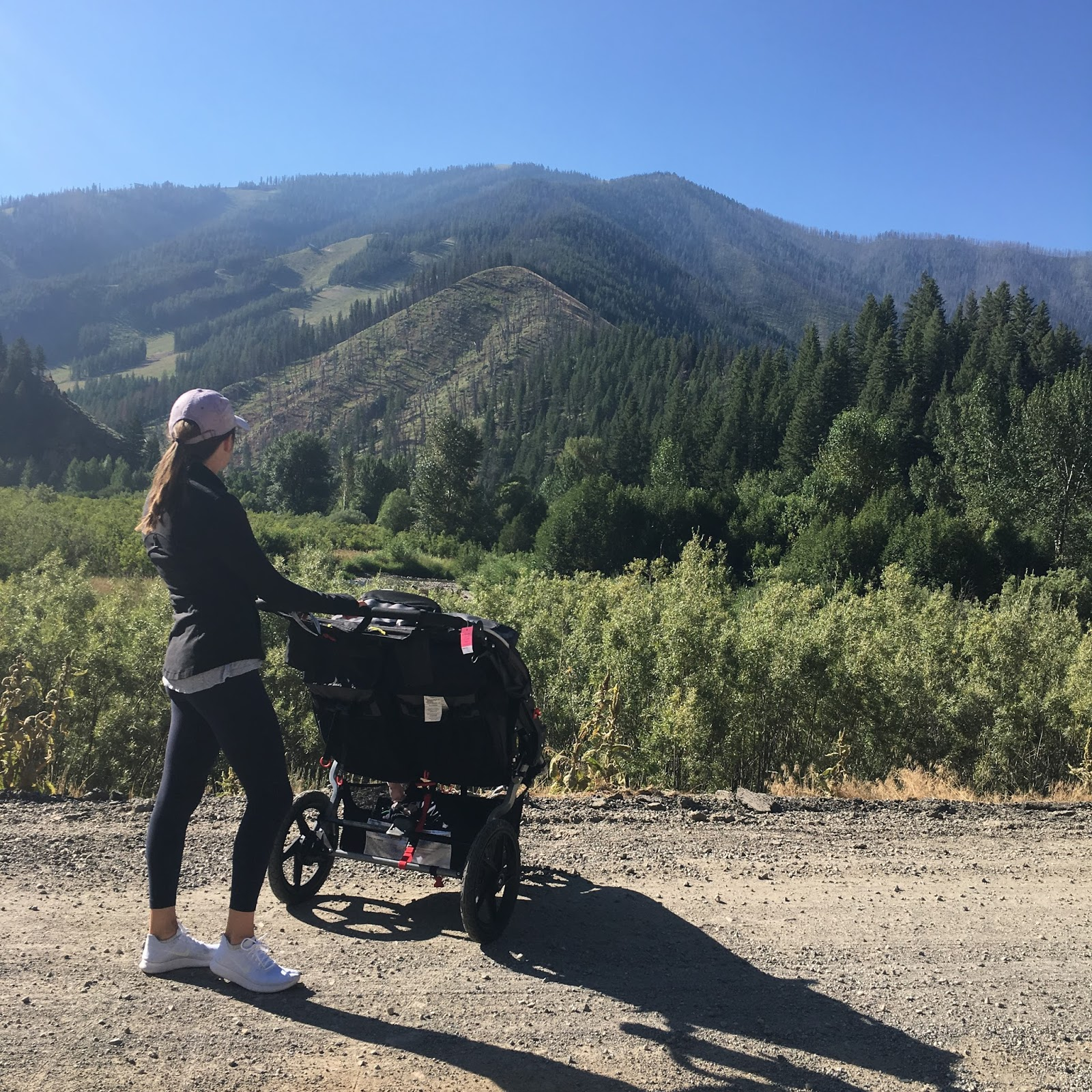 running mom and double stroller