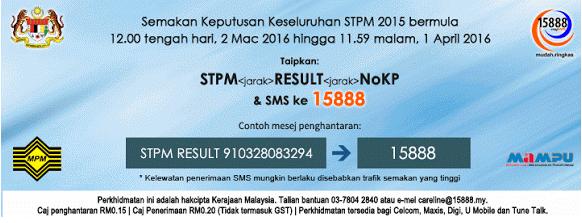 Keputusan STPM 2015 keseluruhan Online Dan SMS
