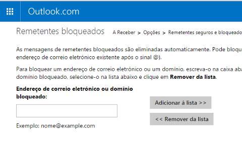 Como bloquear email no Outlook.com