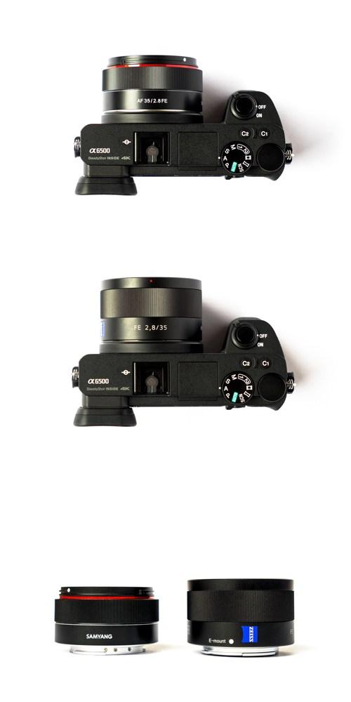 Сравнение объективов Samyang AF 35mm f/2.8 FE и Sony Zeiss 35mm f/2.8 вместе с камерой Sony A6500