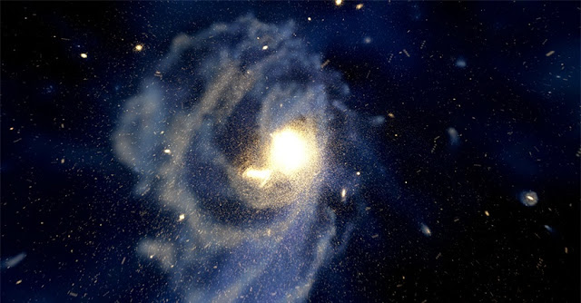 Computer simulation of formation of a spiral galaxy like the Milky Way by 4D2U Project, NAOJ. The halo structure is at least partially formed by the accretion of many small galaxies. The merged galaxies have already been disintegrated, but individual stars have information of the original galaxy. (Credit: Takayuki Saito/Takaaki Takeda/Sorahiko Nukatani/4D2U Project, NAOJ)