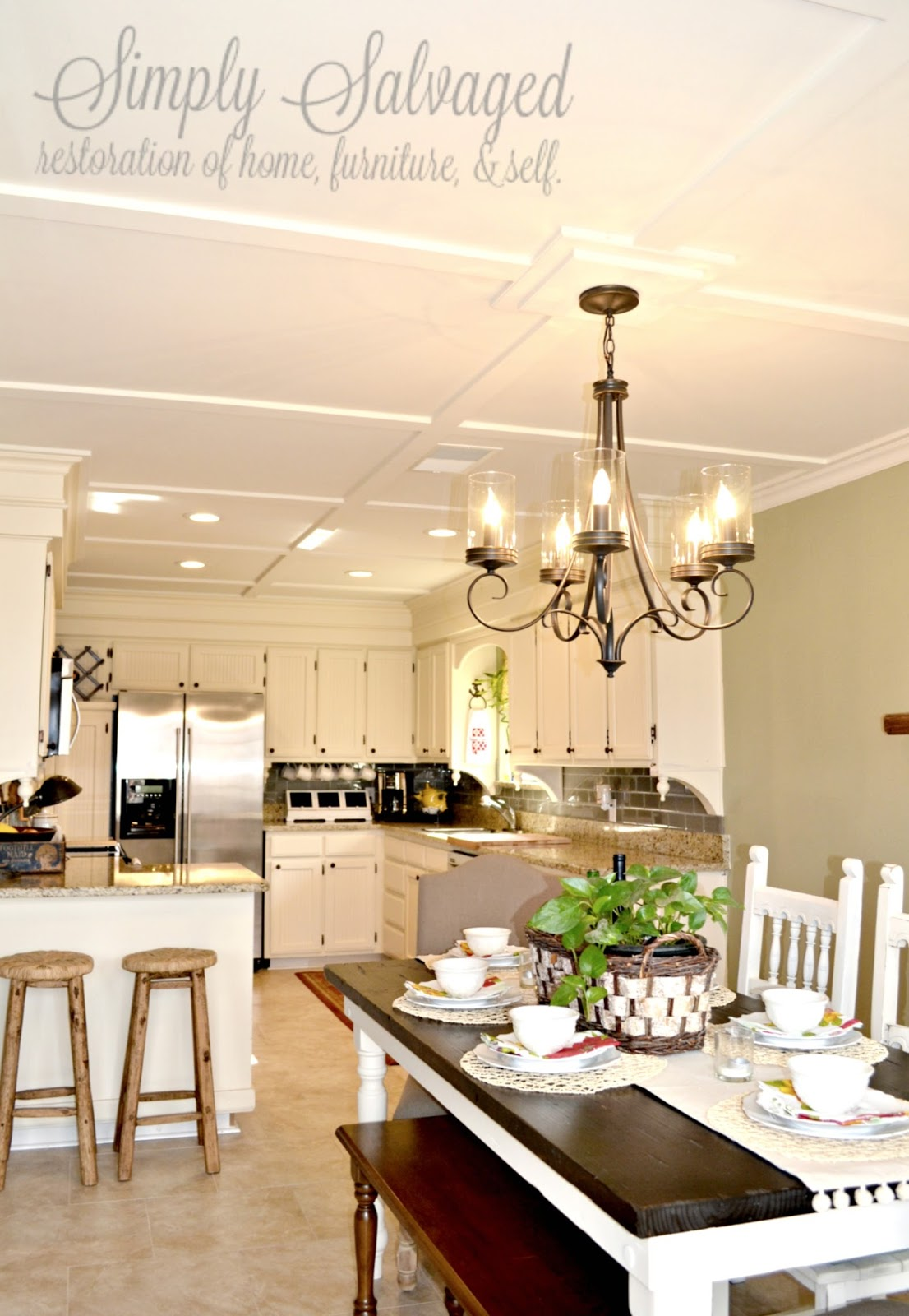 Simply Salvaged Cover Your Popcorn With A Diy Coffered Style Ceiling