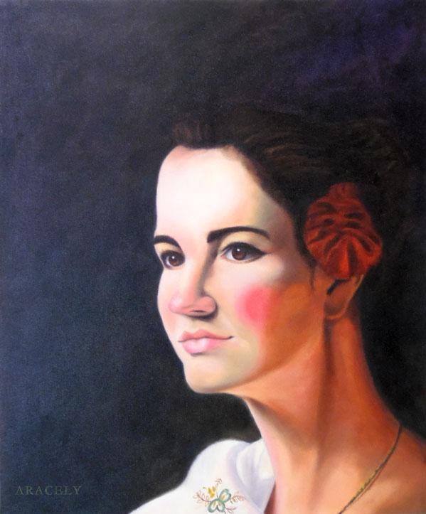Retrato femenino pintado con óleos