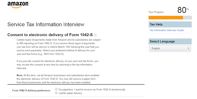delivery of form 1042-S via paper or electronic mail.