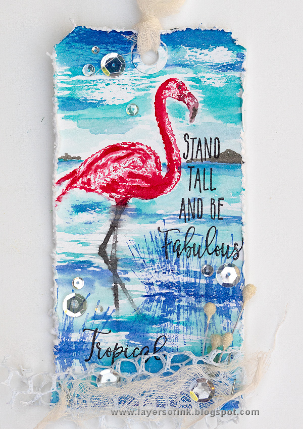 Layers of ink - Flamingo Tag Tutorial by Anna-Karin Evaldsson with Darkroom Door stamps