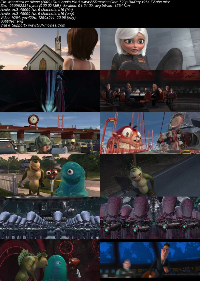 Monsters vs Aliens (2009) Dual Audio Hindi 480p BluRay x264 300MB ESubs Movie Download