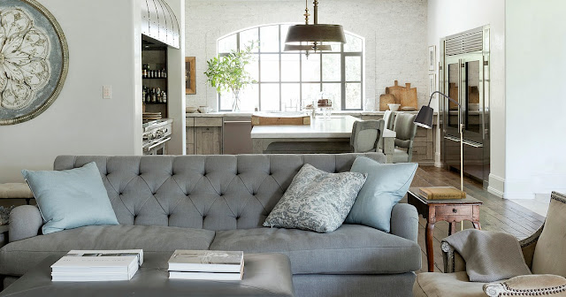 Living room kitchen blue sofa modern farmhouse Eleanor Cummings