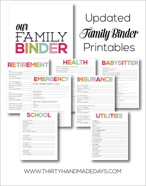 Home management binder free printable
