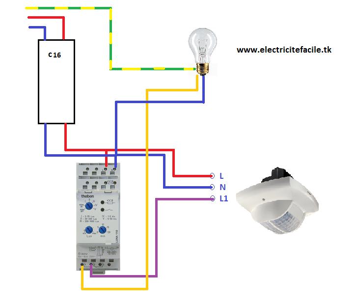 installer un d tecteur de pr sence avec un interrupteur cr pusculaire schema electrique. Black Bedroom Furniture Sets. Home Design Ideas