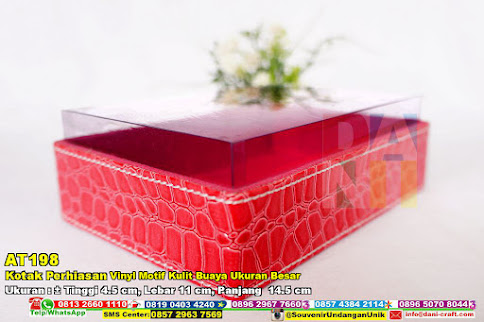 Kotak Perhiasan Vinyl Motif Kulit Buaya Ukuran Besar